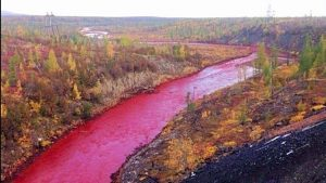 water pollution, siberia red river, pollution