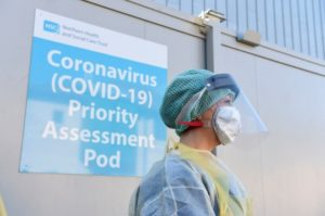 An Emergency Department Nurse during a demonstration of a Coronavirus pod (Picture: PA)